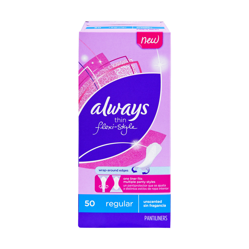 Always Thin Flexi-Style Unscented Regular Pantiliners - 50 CT