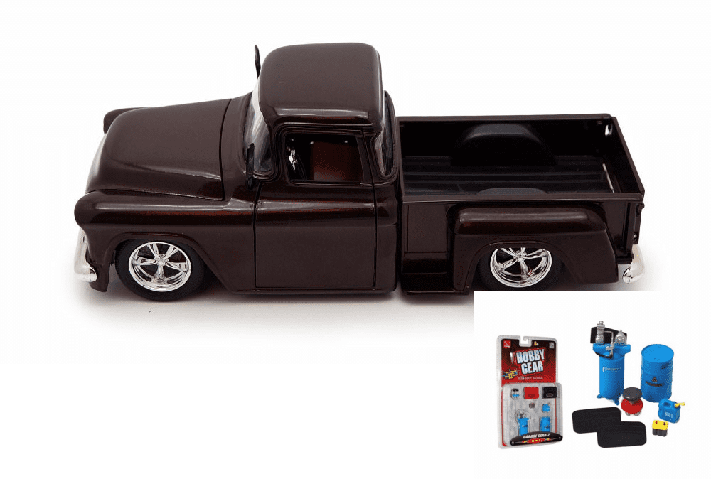 Diecast Car & Garage Diorama Package 1955 Chevy Stepside Pickup, Brown Jada Toys 90162 1... by ModelToyCars