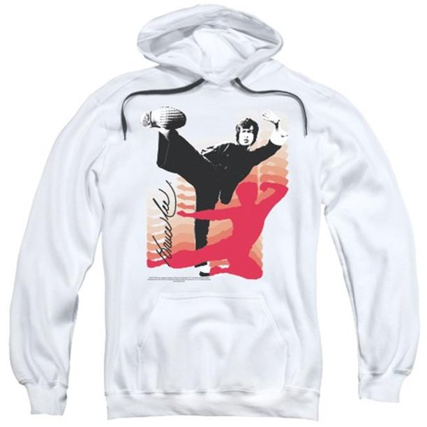Trevco Bruce Lee-Kick It - Adult Pull-Over Hoodie - White, 2X