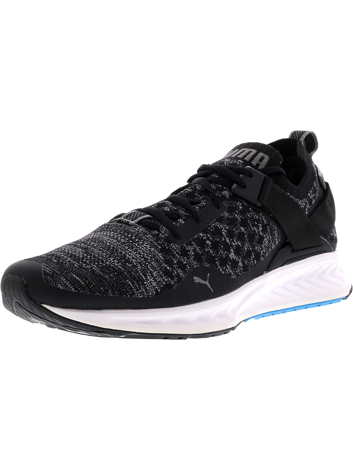 Puma Men's Ignite Evoknit Lo Black / Blue Quiet Shade Ankle-High Running Shoe - 12M