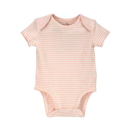 Short Sleeve Striped Bodysuit (Baby - Girls Pink Stripe Onesie Bodysuit