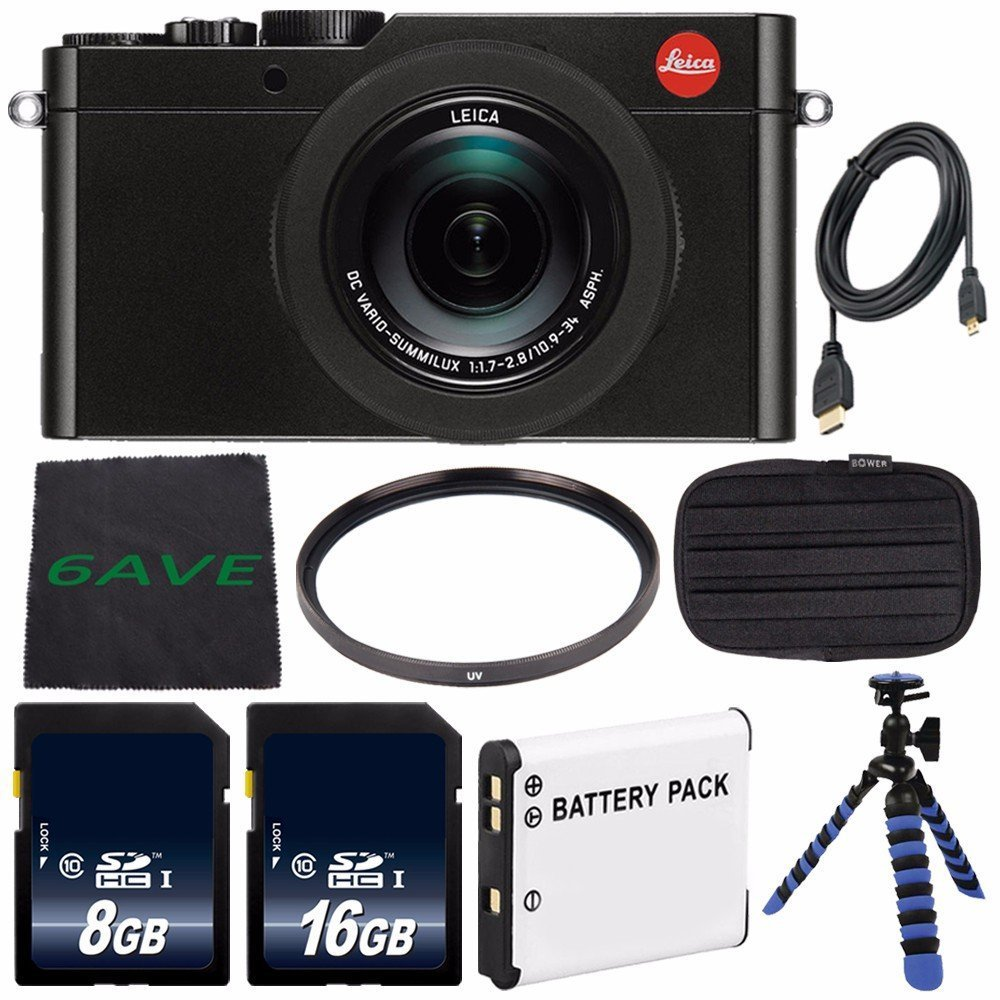 Leica D-LUX (Typ 109) Digital Camera (Black) (International Model no Warranty) + DMW-BLE9 Replacement Lithium Ion Battery + Flexible Tripod with Gripping Rubber Legs + Mini HDMI Cable Bundle 25