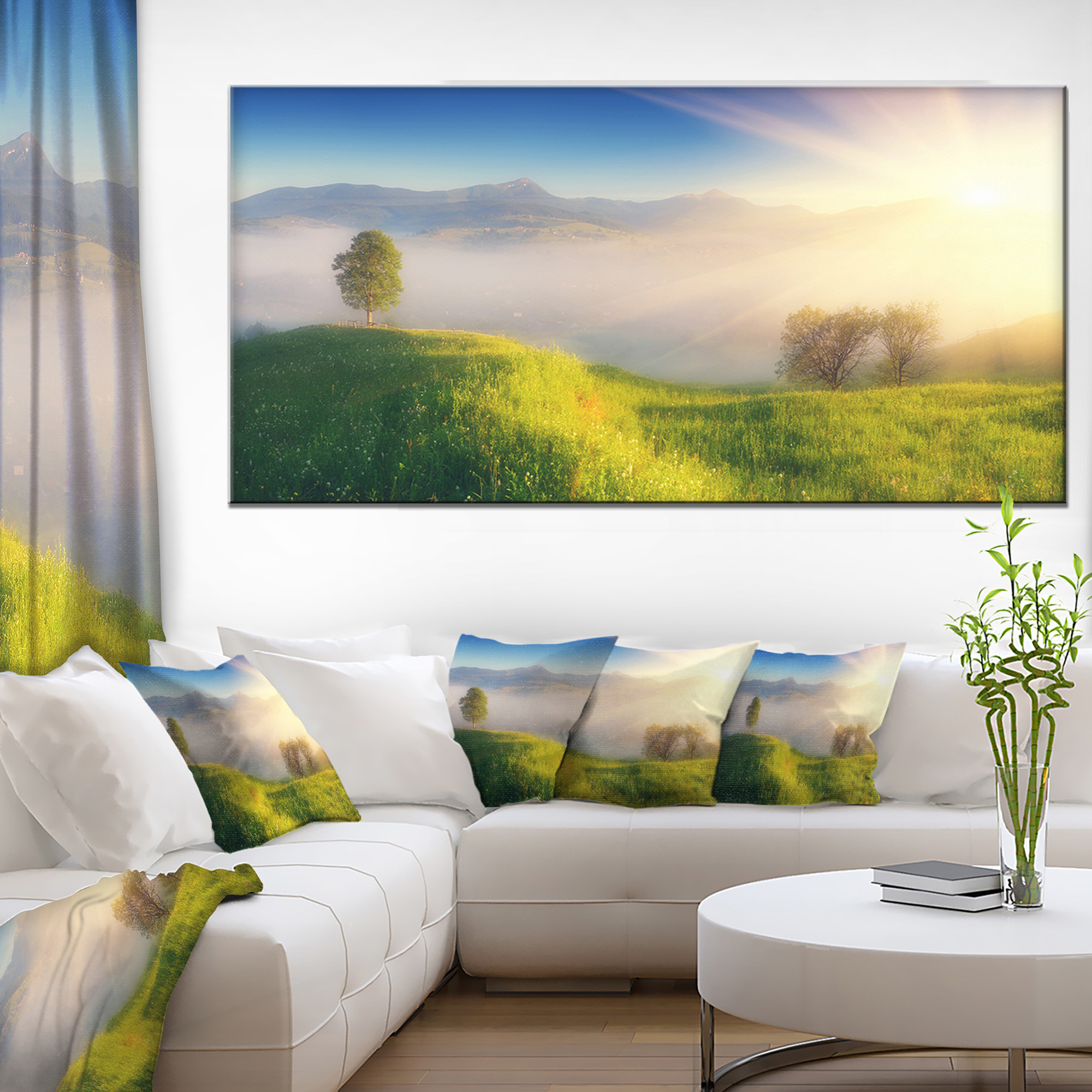 Morning Mist Over Mountain Village Extra Large Landscape Canvas Art Print Walmart Canada