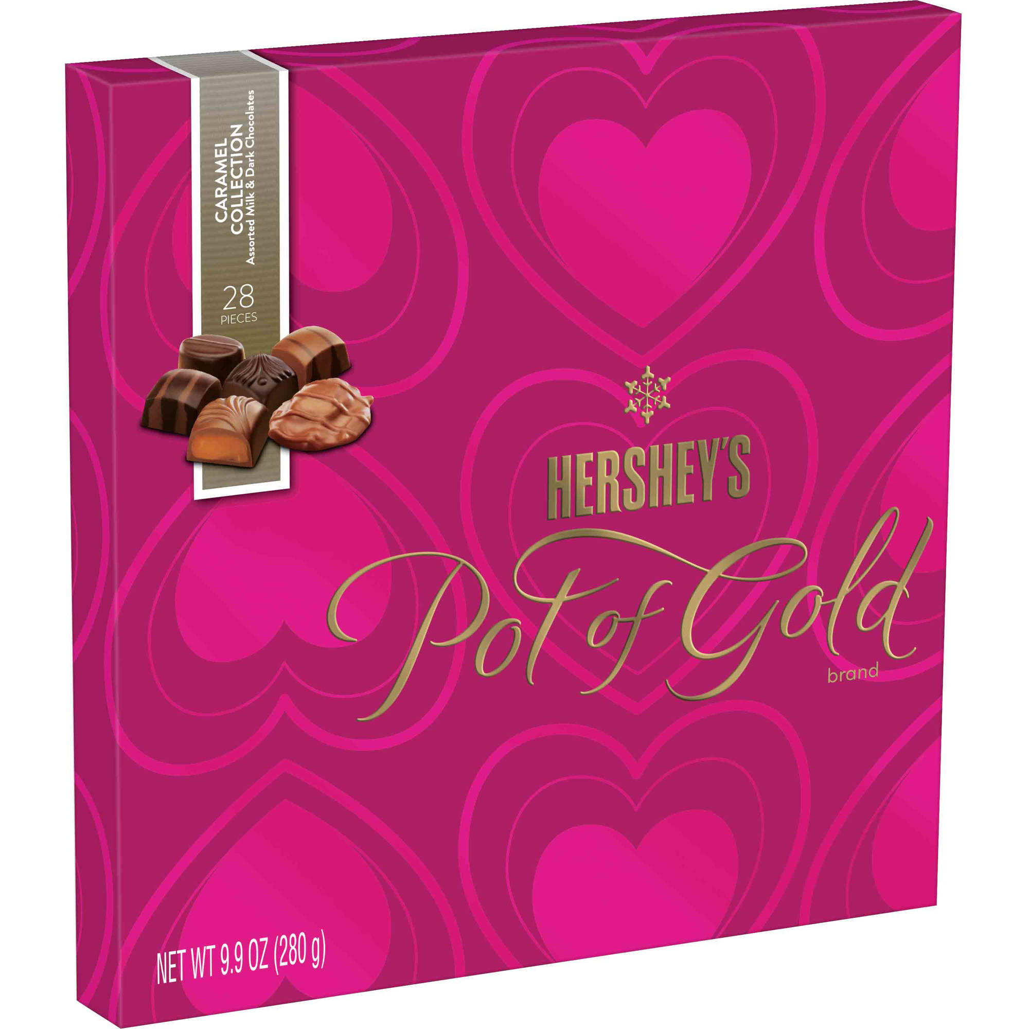 Hershey's Pot Of Gold Valentine's Milk and Dark Chocolate Caramel Collection Candy, 9.9 oz
