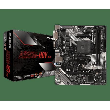 Board Video Micro Atx Motherboard (ASRock A320M-HDV R4.0 AM4 AMD Promontory A320 SATA 6Gb/s USB 3.1 HDMI Micro ATX AMD Motherboard )