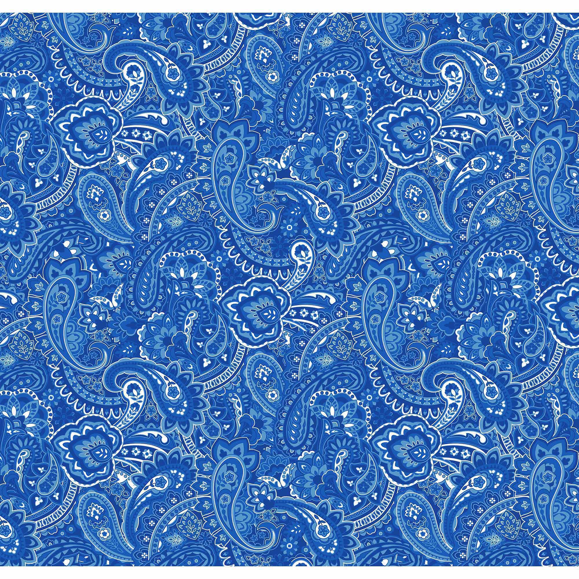 Springs Creative Cotton Blenders Gadabout Paisley, Blue, Fabric by the Yard