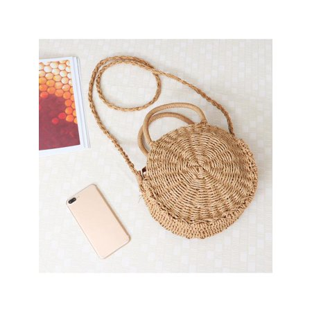 Women Straw Bag Woven Round Handbag Boho Style Girl Crossbody Bags Summer Small Without Buckle
