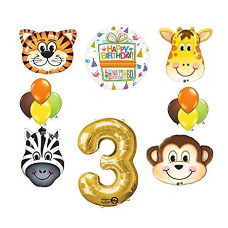Jungle Animal Safari Third 3rd Birthday Party Supplies and Balloon Decorations