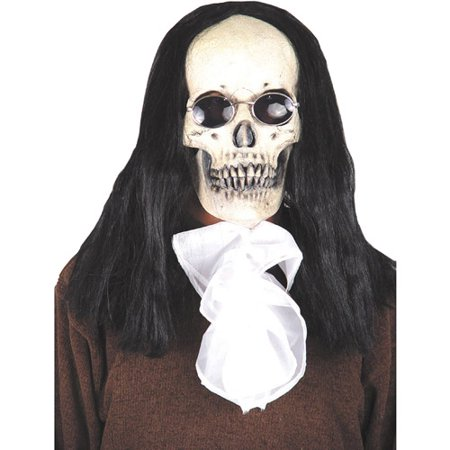 Deluxe Goth Skull Mask with Hair Adult Halloween Accessory
