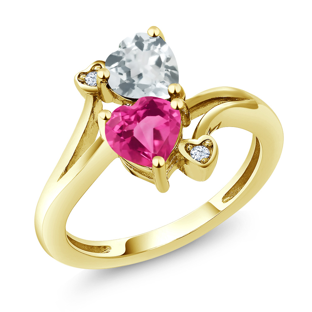 1.50 Ct Pink Created Sapphire Sky Blue Aquamarine 14K Yellow Gold Ring by