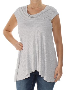 d0f489d5dd5973 Product Image FREE PEOPLE Womens Gray Tank Sleeveless Cowl Neck Top Size: L