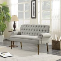 Belleze Vintage Loveseat Sofa Settee Bench with Wood Legs Living Room Linen Fabric Button Tufted, Grey