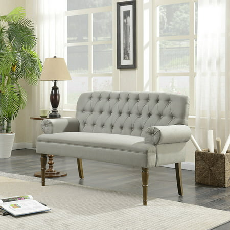 Belleze Vintage Loveseat Sofa Settee Bench with Wood Legs Living Room Linen Fabric Button Tufted, Grey ()