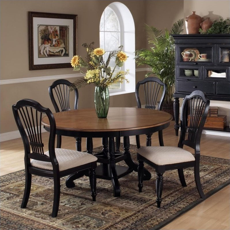 Hillsdale Embassy Round Pedestal Dining Table In Rubbed Black U0026 Cherry    Walmart.com