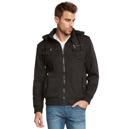 Maximos Men's Sherpa Lined Sahara Hooded Multi Pocket Bomber Jacket Adidas Black Storm Jacket