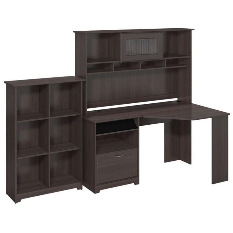 Bush Cabot Corner Desk With Hutch And 6 Shelf Bookcase In