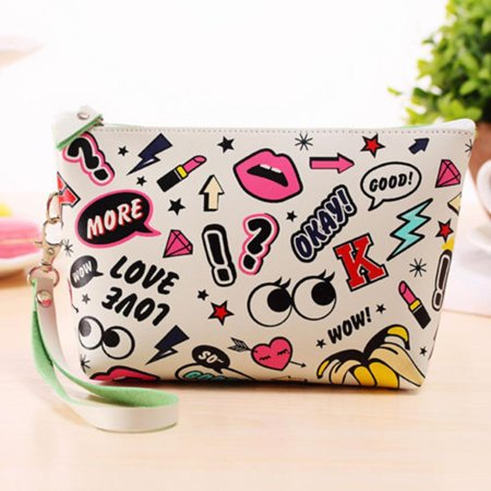 Women Toiletry Makeup Bag Travel Organizer Storage Pouch Clutch Bag Print