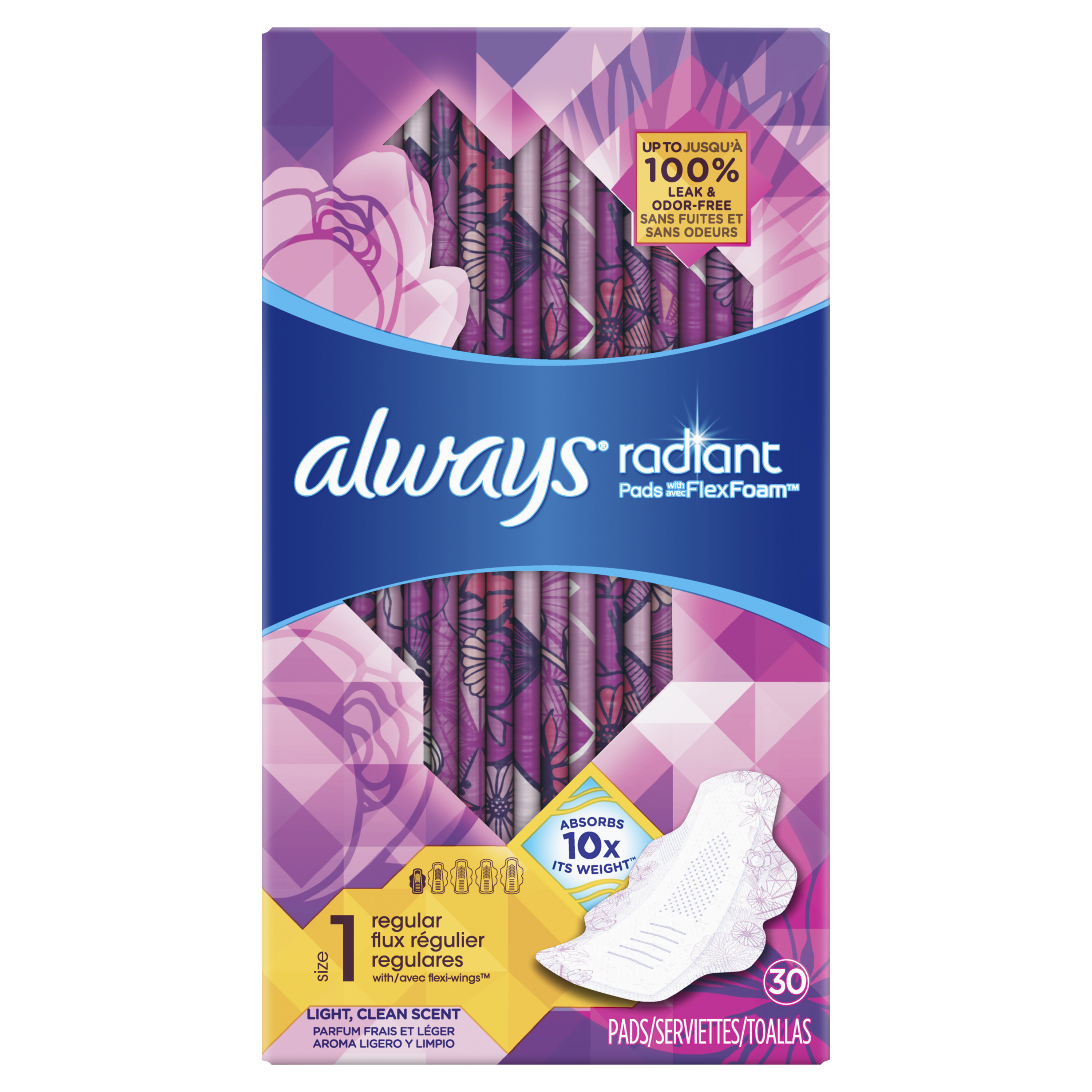 Always Radiant Size 1 Regular Pads with Wings, Scented, 30 Count