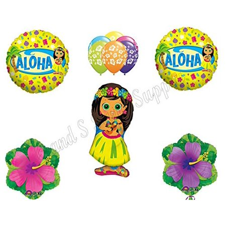 Hula Girl Birthday (HIBISCUS HULA GIRL Luau Birthday Party Balloons Decoration Supplies Beach)