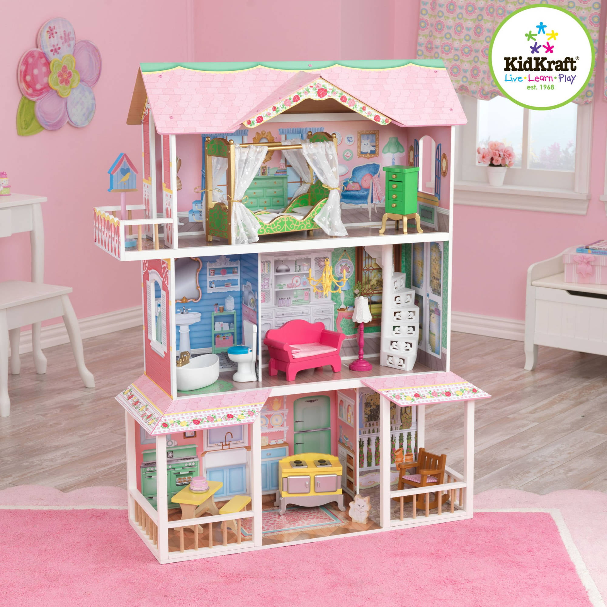 Kidkraft Sweet Savannah Wooden Dollhouse With 13 Pieces Of Furniture