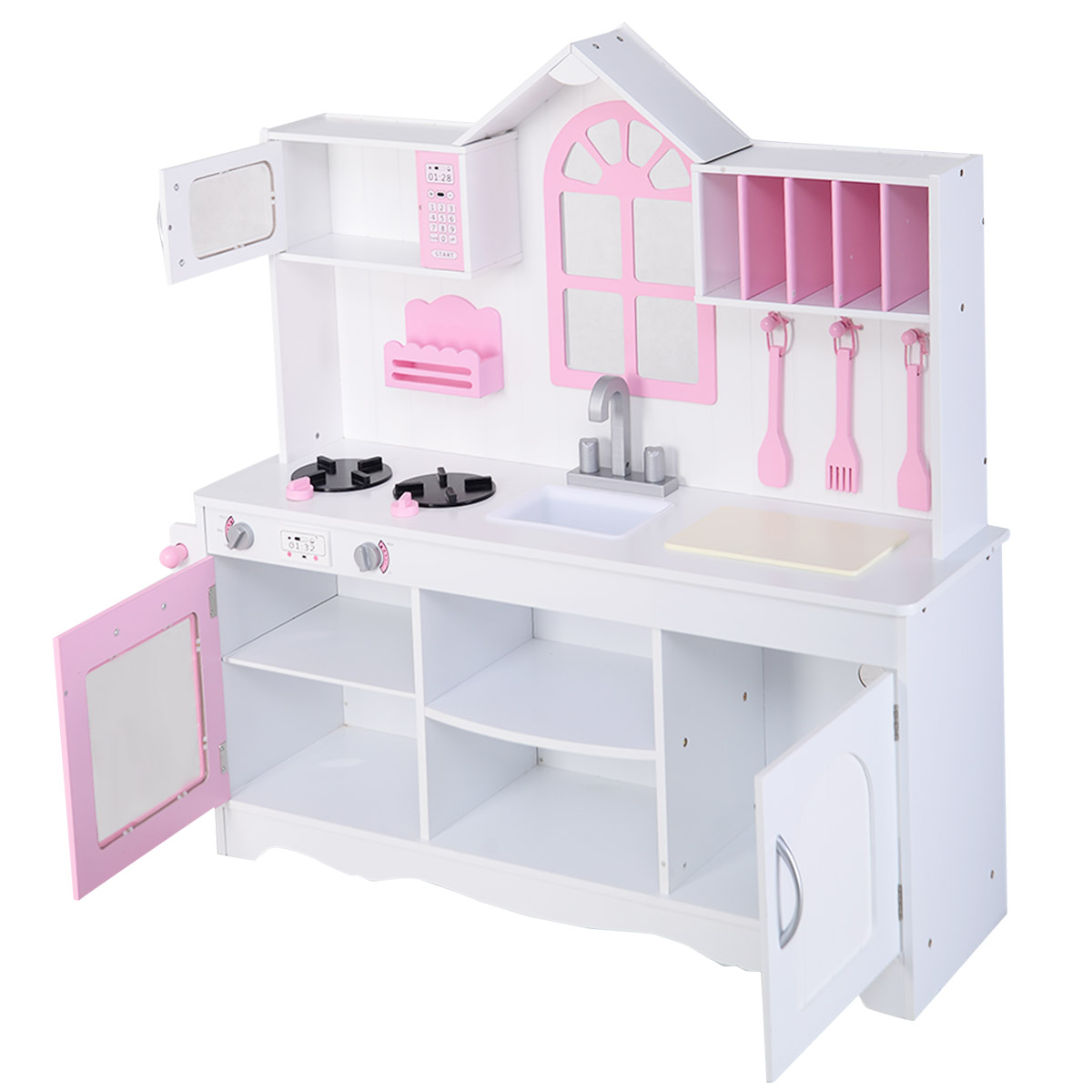 costway kids wood kitchen toy cooking pretend play set toddler  - costway kids wood kitchen toy cooking pretend play set toddler woodenplayset  walmartcom