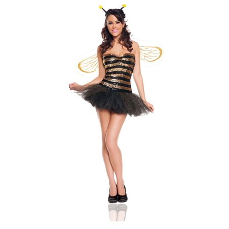 SEQUIN BUMBLE BEE sexy corset tutu wings womens halloween costume party LARGE