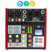 Pyle PMXU48BT.5 - 4-Ch. Studio Mixer - Pro Audio DJ Audio Mixer Console (+48V Phantom Power)
