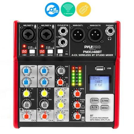 PYLE PMXU48BT - 4-Ch. Bluetooth Studio Mixer - Pro Audio Digital DJ Audio Mixer Console (+48V Phantom