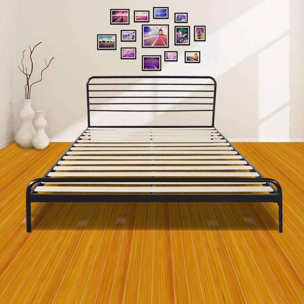 Zimtown Sturdy Metal Bed Frame Full Size Platform Bed Mattress Foundation Headboard/Wood Slat Support, No Box Spring Needed (Black)