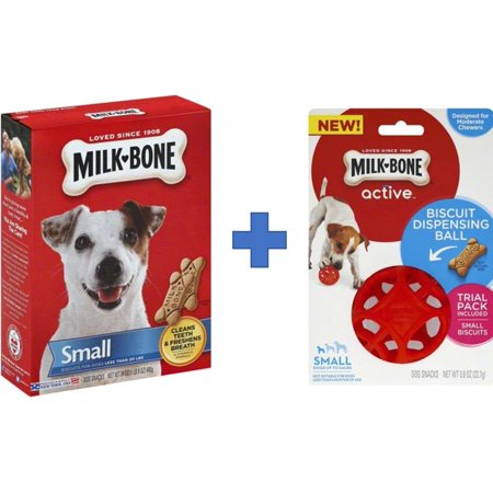 Bundle and Save! Milk-Bone Biscuit Dispensing Ball, Interactive Dog Toy For Small Dog and Milk-Bone Original Dog Biscuits - Small, 24-Ounce (Original Small Biscuits)