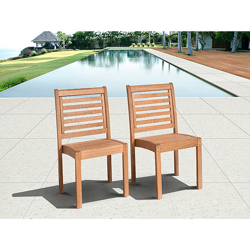 Milano Outdoor Eucalyptus Wood Stacking Side Chairs, Set of 2, Brown