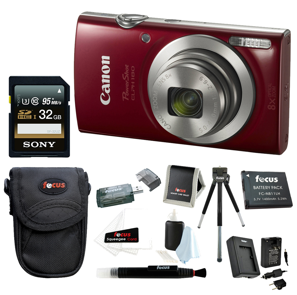 Canon PowerShot ELPH 180 20 MP Digital Camera (Red) w/ 32GB Accessory Bundle