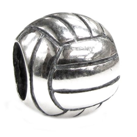 Queenberry Sterling Silver Volleyball European Bead Charm Fits Pandora