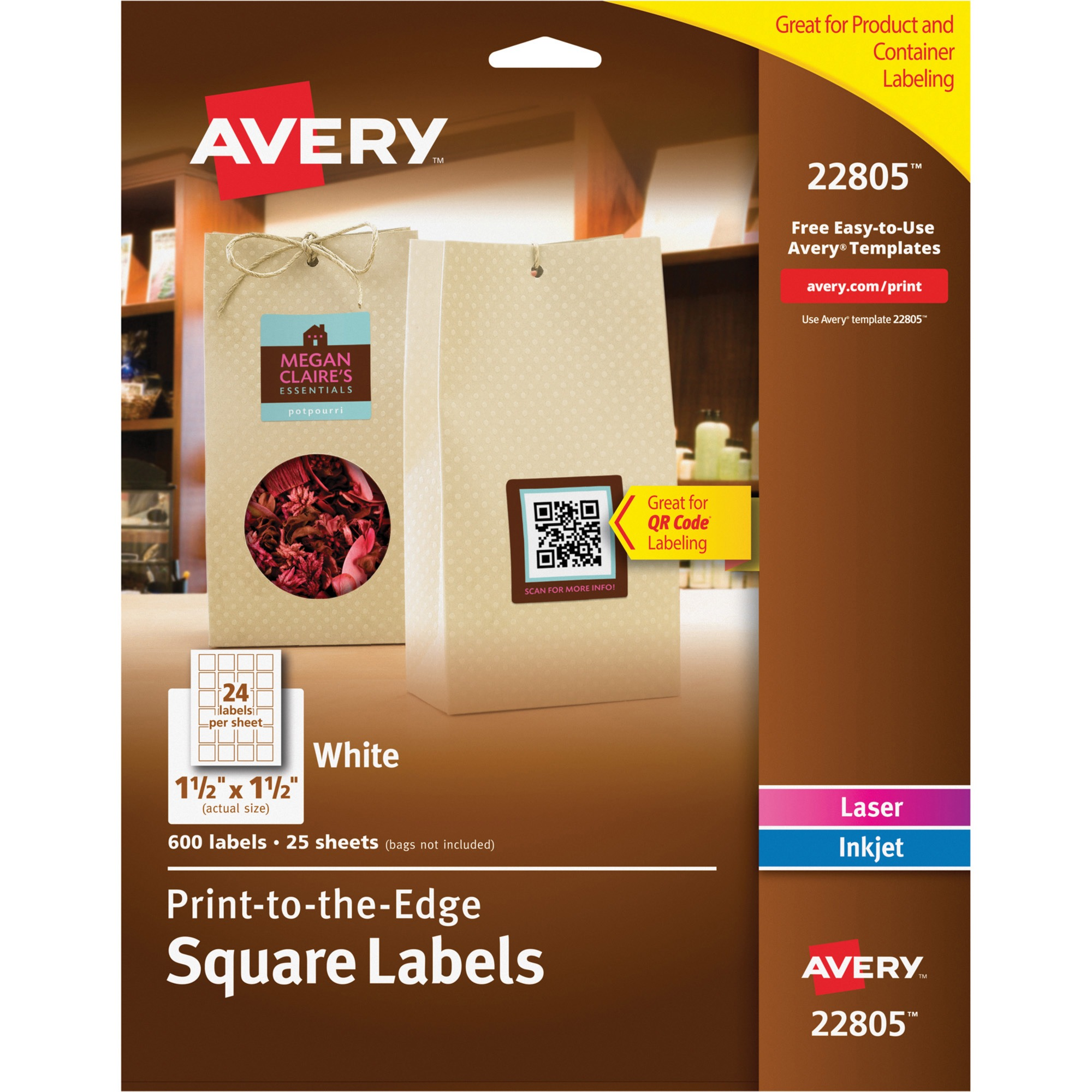 "Avery(R) Easy Peel(R) Print-to-the-Edge White Square Labels 22805, 1-1/2"" x 1-1/2"", Pack of 600"