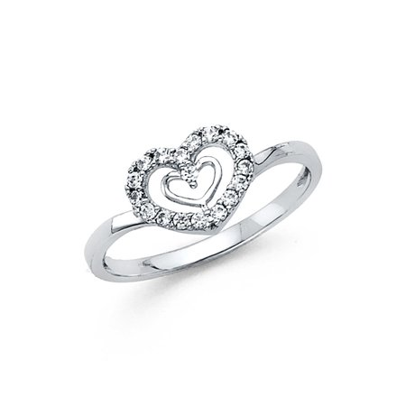 db7752c70 Solid 14k White Gold Heart n Heart Ring CZ Love Band Right Hand Promise Ring  Curve Stylish , Size 8