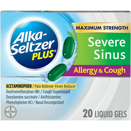 Alka-Seltzer Plus Severe Sinus Congestion Allergy & Cough, Liquid Gels, 20 (Best Process Alka Green)