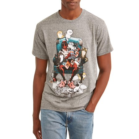 Deadpool Men's Cat Comics Short Sleeve Graphic T-Shirt (Lady Deadpool Comics)