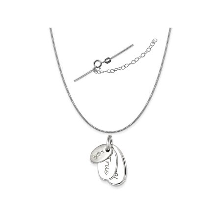 Sterling Silver Polished Wish True Love Charm on a 0.90mm Box Chain Necklace, 18