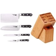 Cooks Standard 5 Piece Chef Knife Set with Expandable Bamboo Block, Stainless Steel