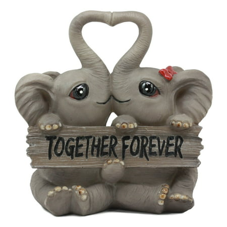 Ebros Gift Forever And Ever Elephant Couple Lovers With Heart Shaped Trunks Figurine Collectible ()