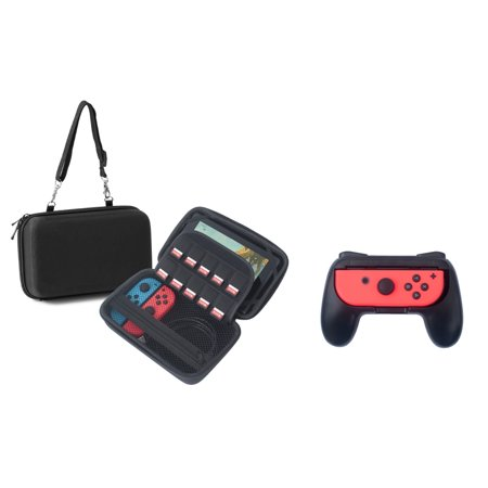 Insten Travel EVA Hard Carry Shell Case Pouch (Fit In-Car Mount) with 10 Game Card Storage Slot Zipper Pocket For Nintendo Switch Console & Accessories (Bundle with 2-pcs Joy-Con Controller (Best Slot Car Controller)