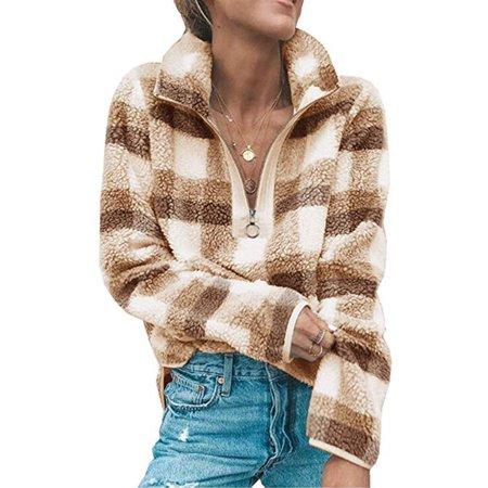 Women's Long Sleeve 1/4 Zip Up Lapel Fleece Sweatshirt Warm Plaid Fluffy Hoodies Pullover Weatherproof Adult Zip Sleeve