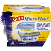 Glad Food Storage Containers, MatchWare Square, Two 25-Ounce, Two 42-Ounce, BPA Free