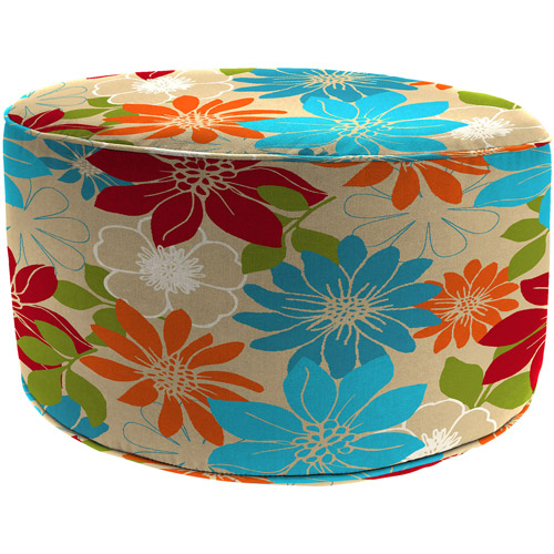 Round Outdoor Floral Pouf Ottoman, Kathy Bisque