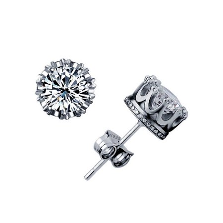 1 Carat Diamond Stud Earrings - Emma Manor Fashion Women Jewelry 14k White Gold Plated 1 Carat Round Solitaire CZ Diamond Stud Earrings