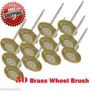 "MTP ® Pack of 50  Rotary Brass Wheel Brush Dremel  443 442 428 8220-2/28 395 4000 1/8"" Shank Clean Polish Tool Jewelry Stone Hobby"