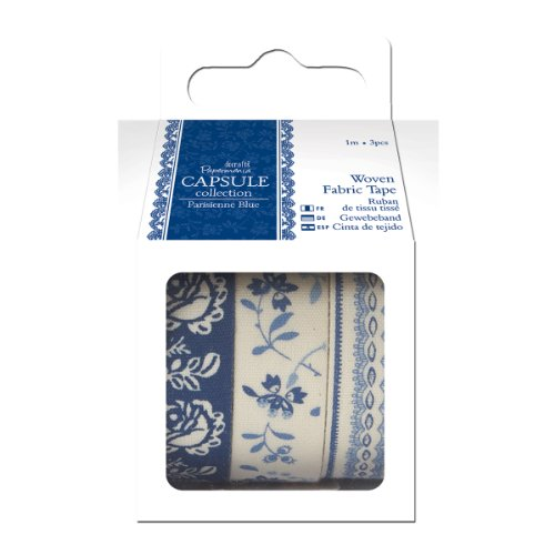 Papermania Parisienne Fabric Tape, 1m, Blue Multi-Colored