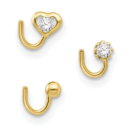 10k Yellow Gold Set Of 3 Nose Studs Body Nostril Stud Fine Jewelry