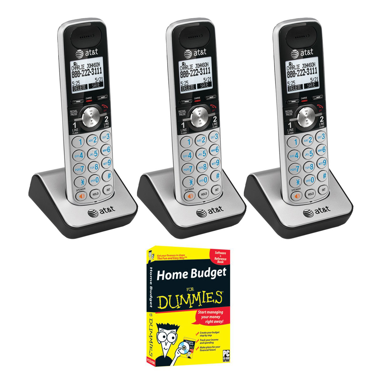 AT&T TL88002 Dect 6.0 1-Handset 2-Line Telephone Three Pack with Home Budget for Dummies CD-Rom by