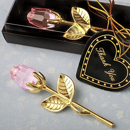 Choice Crystal Gold Long Stem Pink Rose - 1x w/Random Color and Design